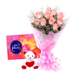 pink roses with Teddy Bear, Cadbury's Celebration